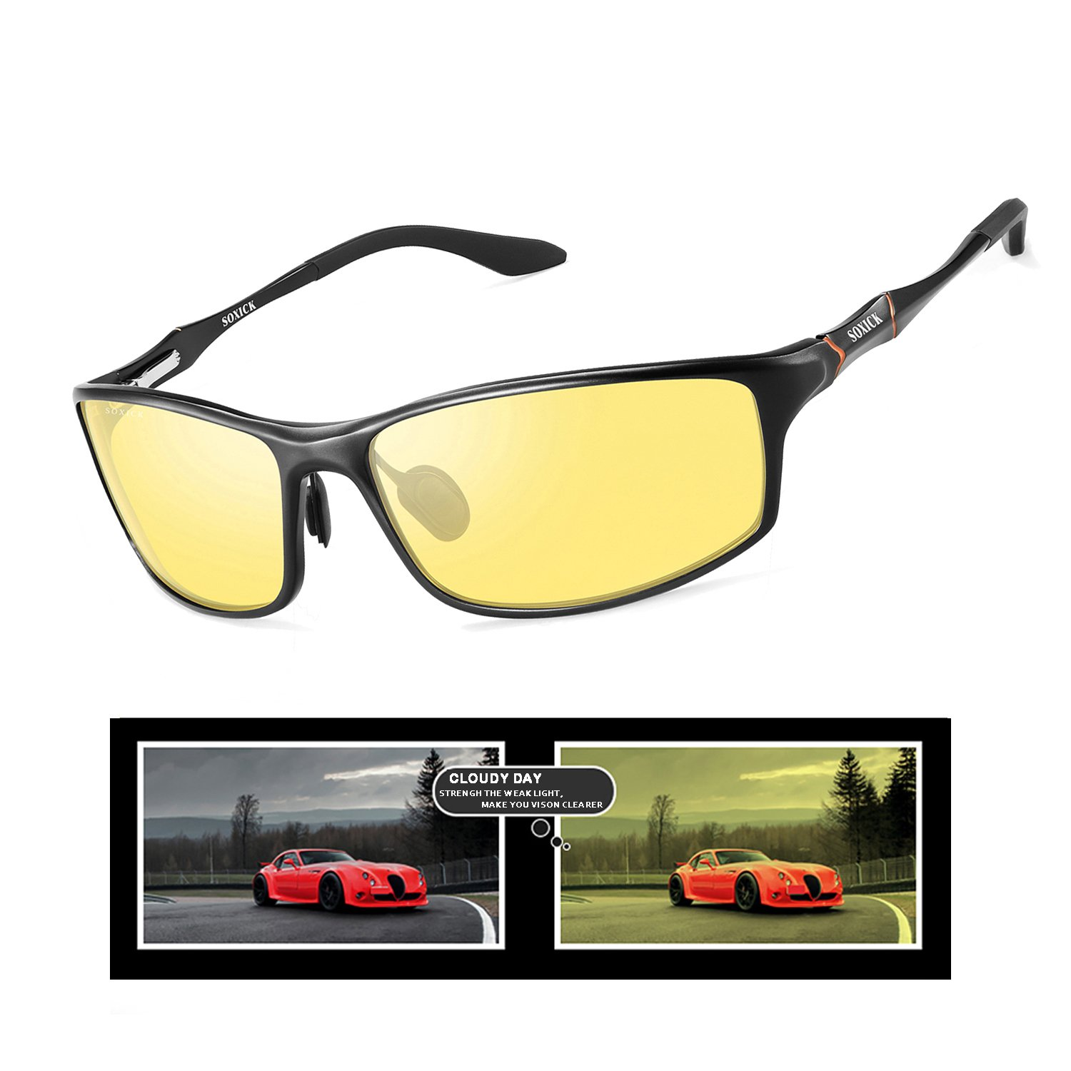 SOXICK Night Driving Glasses Polarized Safe Anti Glare Night Vision Glasses for Driving HD Yellow Lens