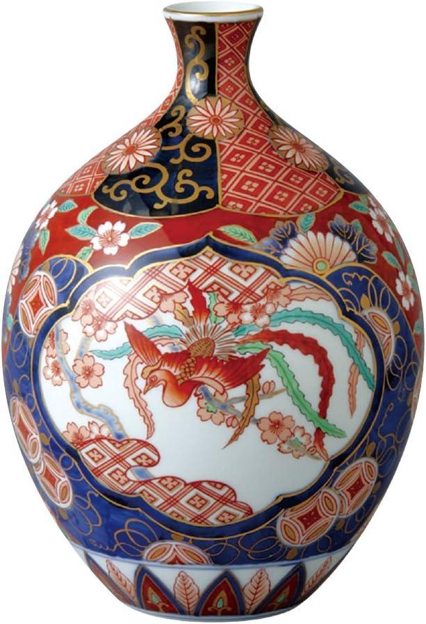 山下工芸 花器 赤濃木甲桐紋 φ17.5×H25cm 有田焼 8寸桂型 花瓶 木箱入 45027920