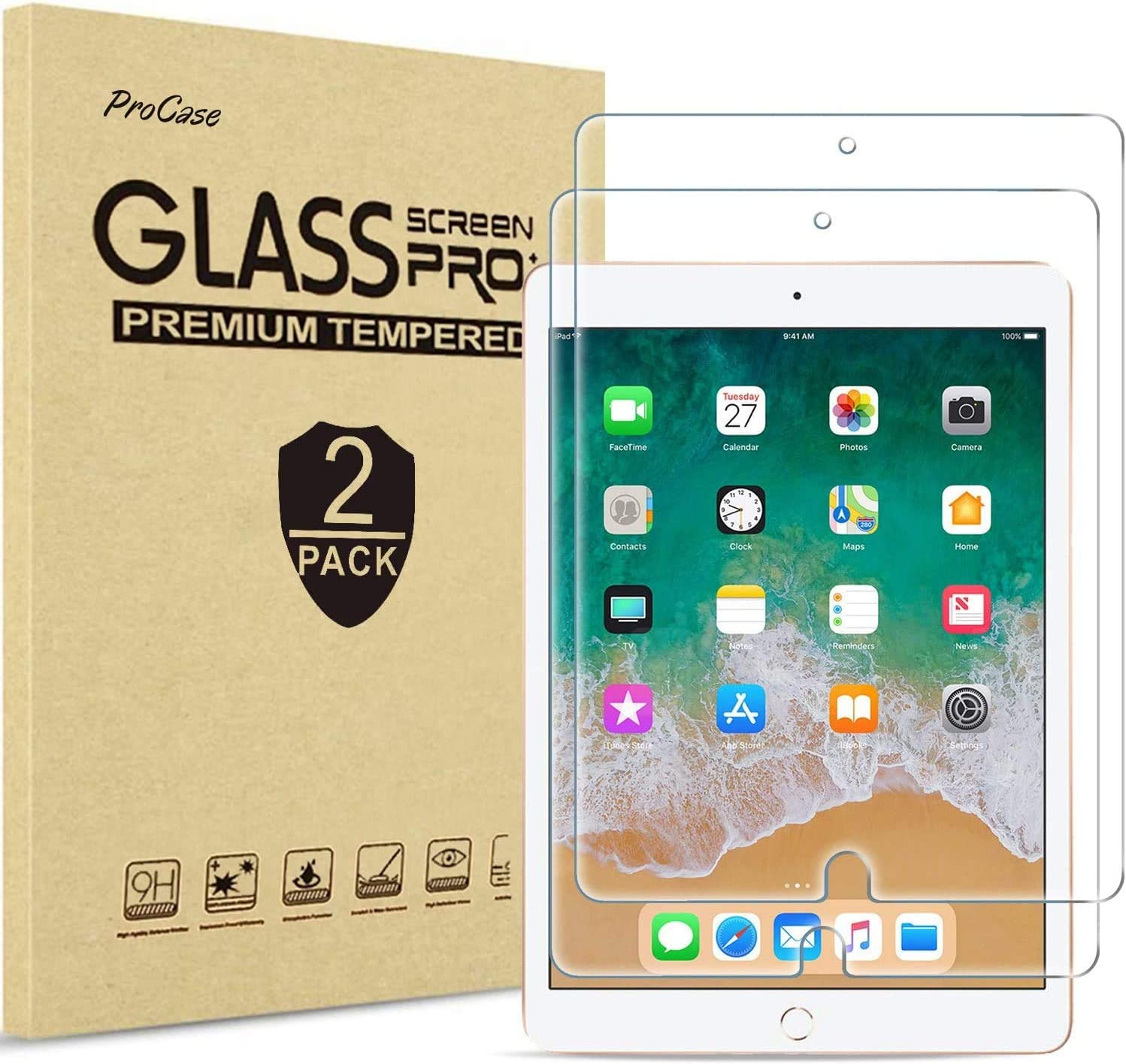"[2 Pack] ProCase iPad 9.7"" (2018 & 2017) / iPad Pro 9.7 / iPad Air 2 / iPad Air Screen Protector, Anti Scratch Tempered Glass Screen Film Guard for iPad 9.7 6th / 5th Gen, Pro 9.7, iPad Air 1, Air 2"