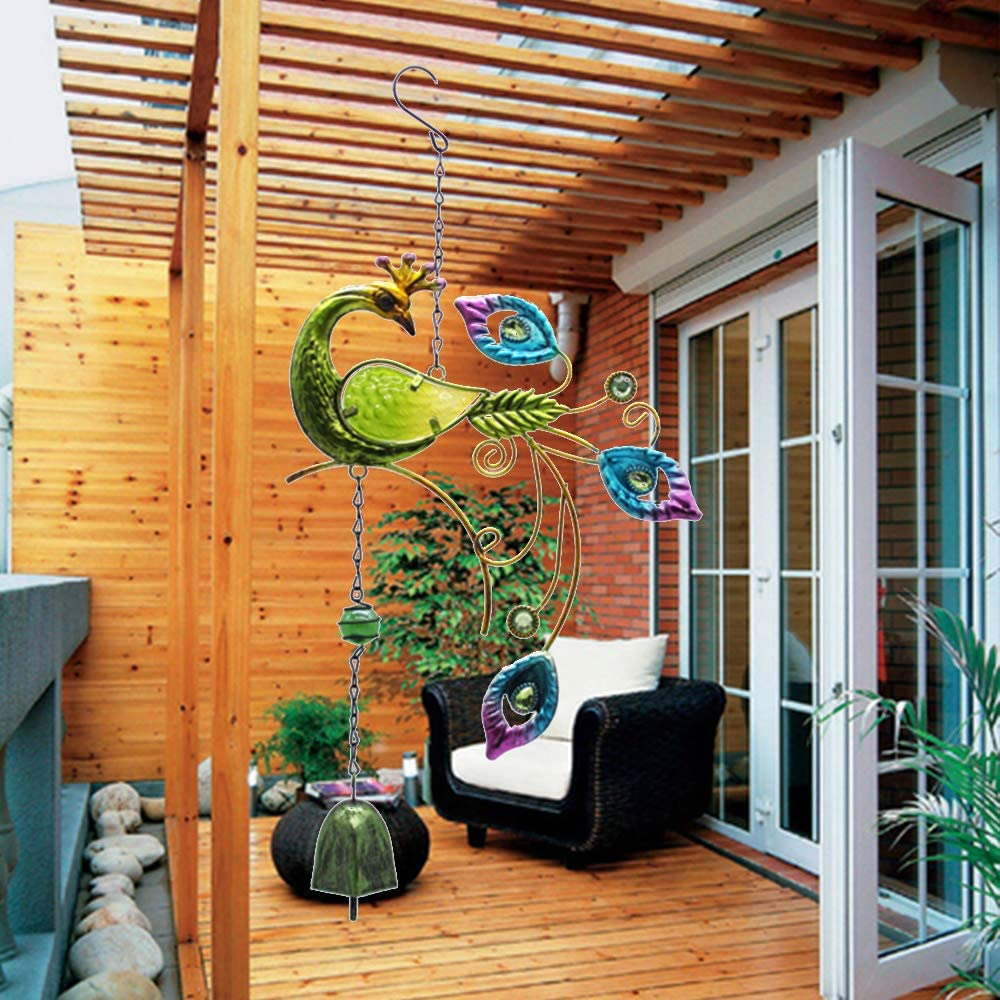LWAN3 Peacock Wind Chime w//Colorful Glass Tubes Outdoor Large Hanging Pendant for Yard Garden Ornament