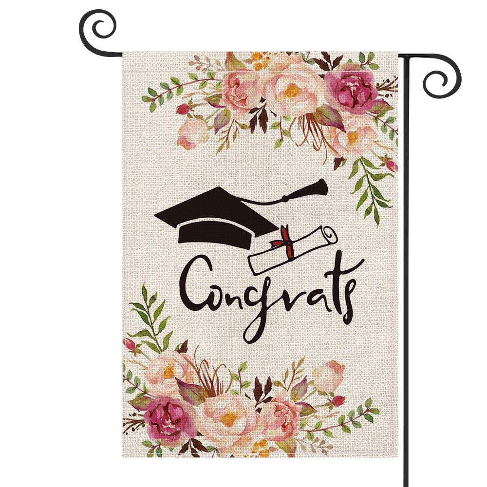 AVOIN Class Of 2021 Congrats Grad Diploma Cap Watercolor Flower Garden Flag Vertical Double Sided, Party Congratulations Yard Outdoor Decoration 12.5 x 18 Inch