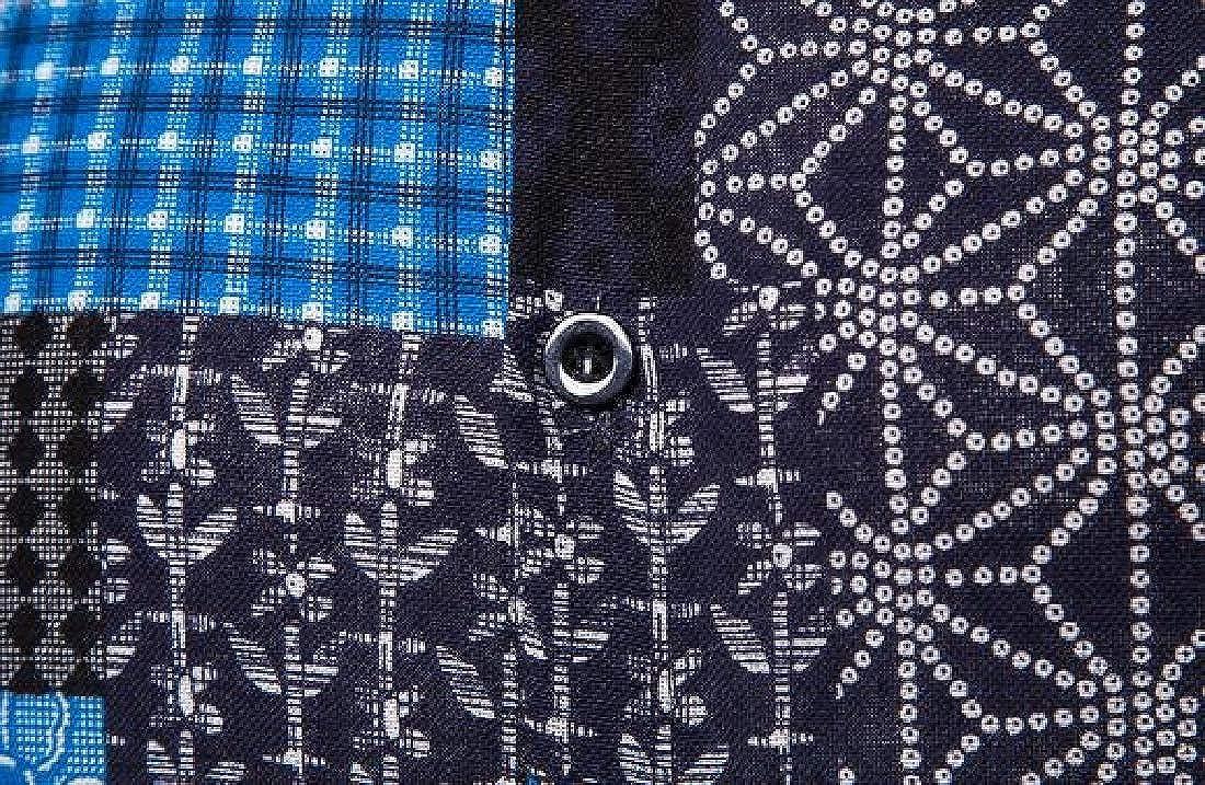Zantt Men Shirt African Print Dashiki Long Sleeve Cotton Linen Longline Shirts