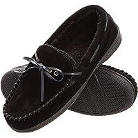Heat Edge Mens Memory Foam Suede Slip On Indoor/Outdoor Moccasin Slipper Shoe