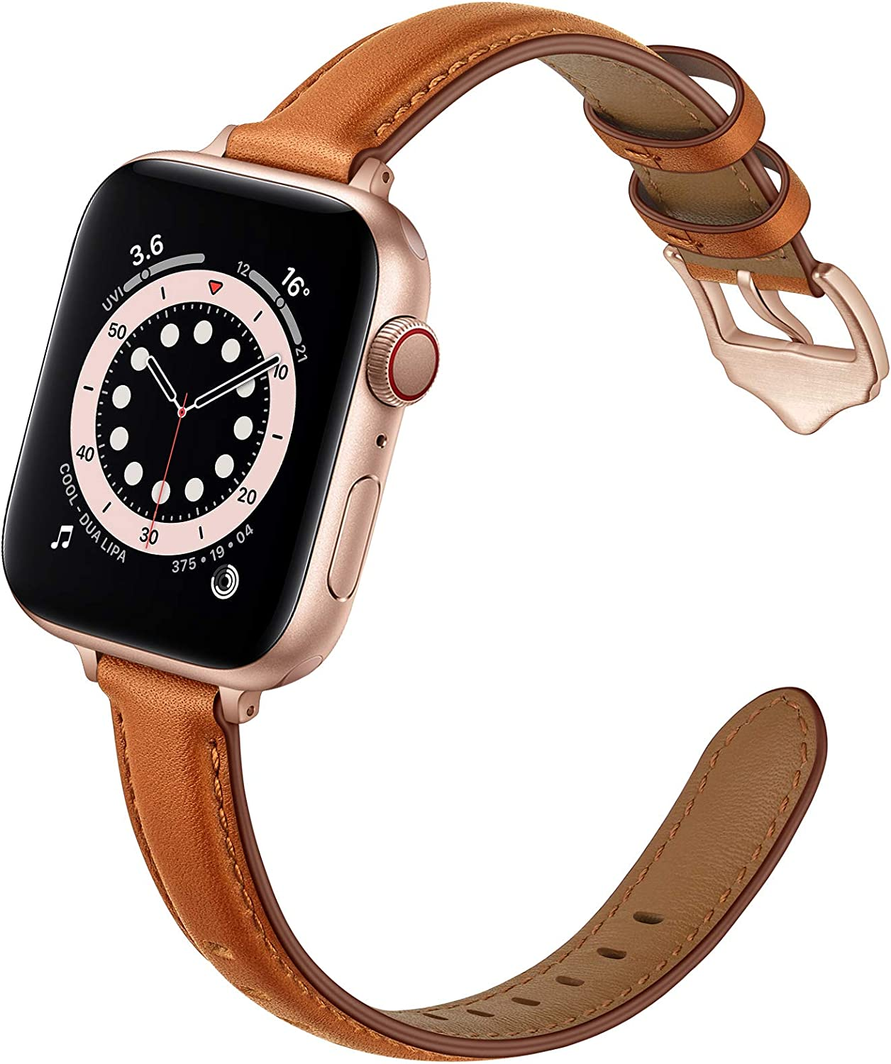 OUHENG Compatible with Apple Watch Bands 40mm 38mm 44mm 42mm, Women Slim Thin Genuine Leather Replacement Strap for iWatch SE Series 6 5 4 3 2 1 (Brown/Rose Gold, 40mm 38mm)