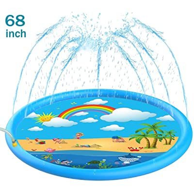 "Sprinkler for Kids, Sprinkle & Splash Play Mat 68"" for Kids (Upgraded 2020 Version) 3-in-1 Inflatable Splash Pad Outdoor Water Mat Toys for 2-12 Year Old Boys Toddlers Girls Party Toy Swimming Pool: Toys & Games"