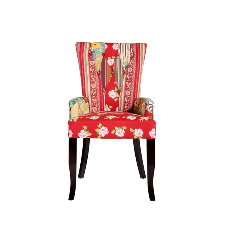 Design Patchwork Stuhl IBIZA mehrfarbig Textil Textil Textil mit Armlehne Polsterstuhl Sessel Wohnzimmer Baumwolle 0038df