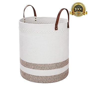 Amazon.com: Cesta de cuerda de algodón Amiglo, 18.0 x 16.0 ...