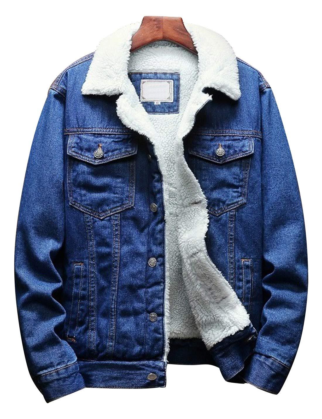 Omoone Men's Lapel Sherpa Fleece Lined Thicken Denim Jean Trucker Jacket Coats (Dark Blue Fleece White, XL) by Omoone