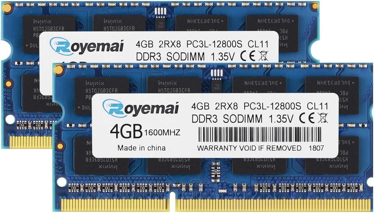 ROYEMAI 8GB DDR3 / DDR3L Kit (2x4GB) 1600MHz Sodimm PC3 / PC3L-12800 1.35V/1.5V CL11 2RX8 Non ECC Unbuffered Dual Rank RAM Memory Module for Laptop
