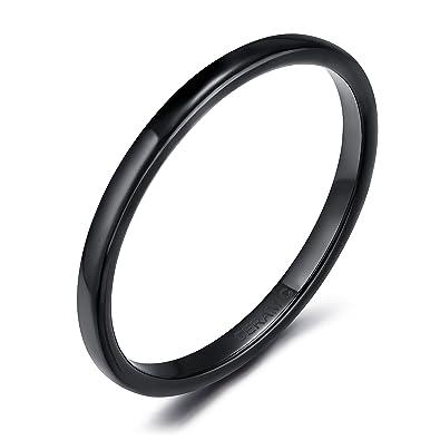 2mm Women Thumb Rings Black Ceramic Wedding Band Dome High Polished Y99mSZ