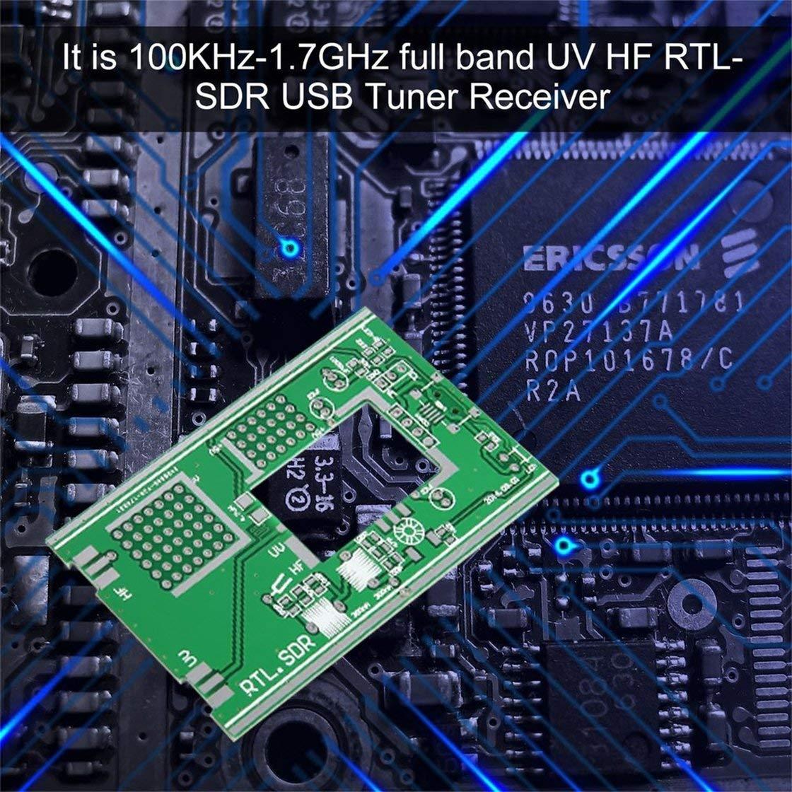 Laurelmartina 100KHz-1.7GHz Receptor de Banda Completa Software Radio UV HF FM Am RTL-SDR Sintonizador USB Receptor RTL2832U + R820T + U/V Antena Kits de ...