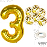 KatchOn Number 3 and Gold Confetti Balloons - Large, 40 Inch Foiil Gold Balloons | 5 Gold Confetti Balloons, 12 Inch…