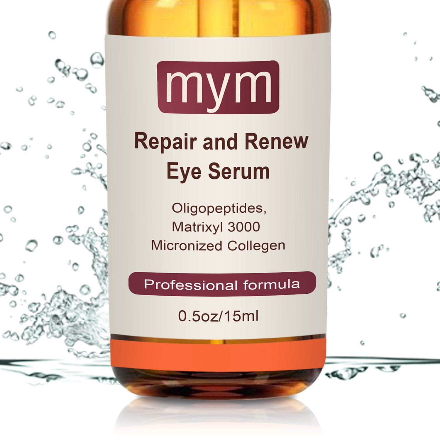 The Best Eye Serum 100% Natural Anti-aging for Wrinkles, Dark Circles, Puffiness, Eye Bags and Crow's Feet with Oligopeptides, Matrixyl 3000 Peptides + Micronized Collagen. Made in USA