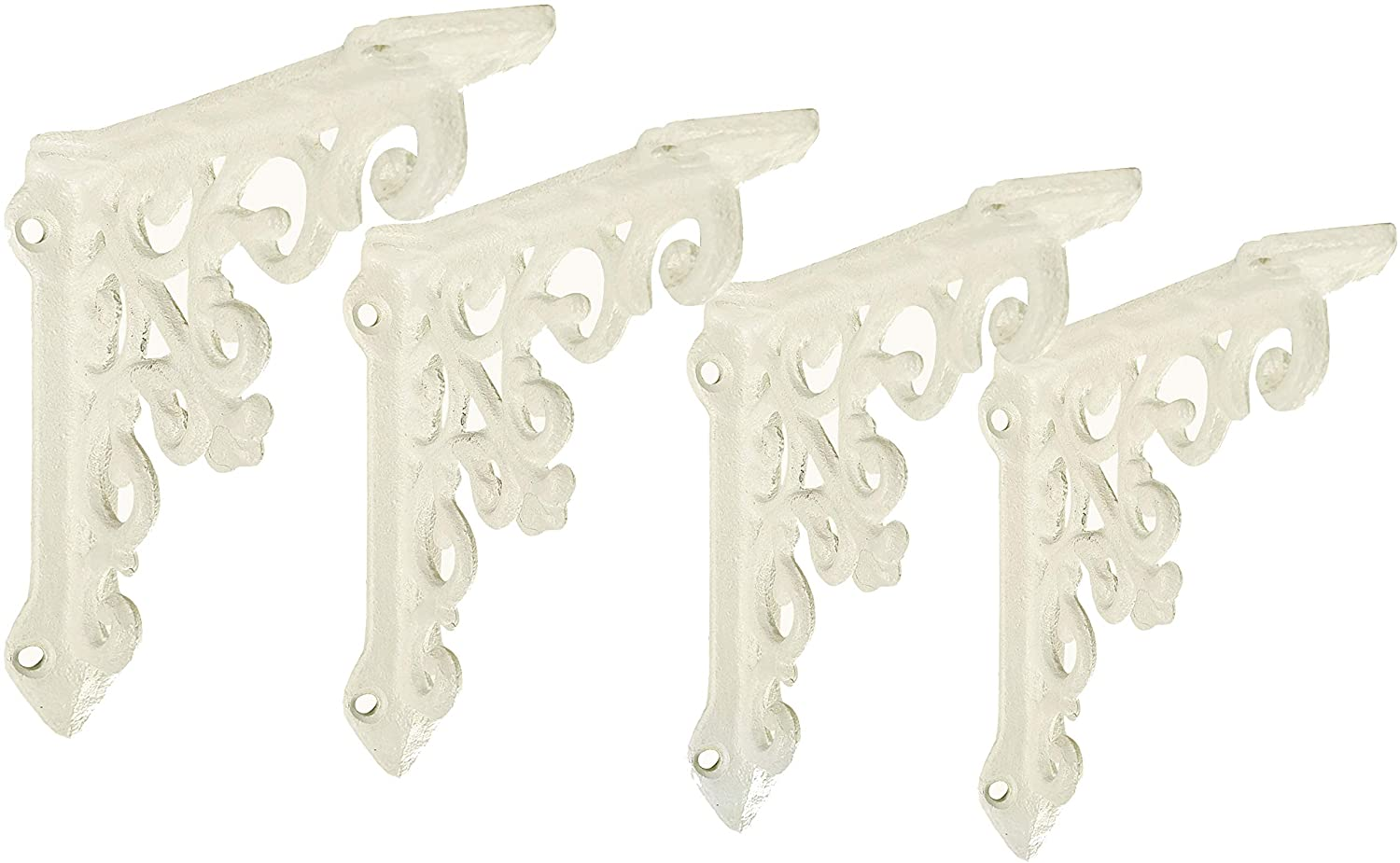 NACH js-90-061AW Cast Iron Victorian Shelf Mount Bracket, Small 4.92 x 1.18 x 4.92 Inches, White, 4 Pack: Home Improvement