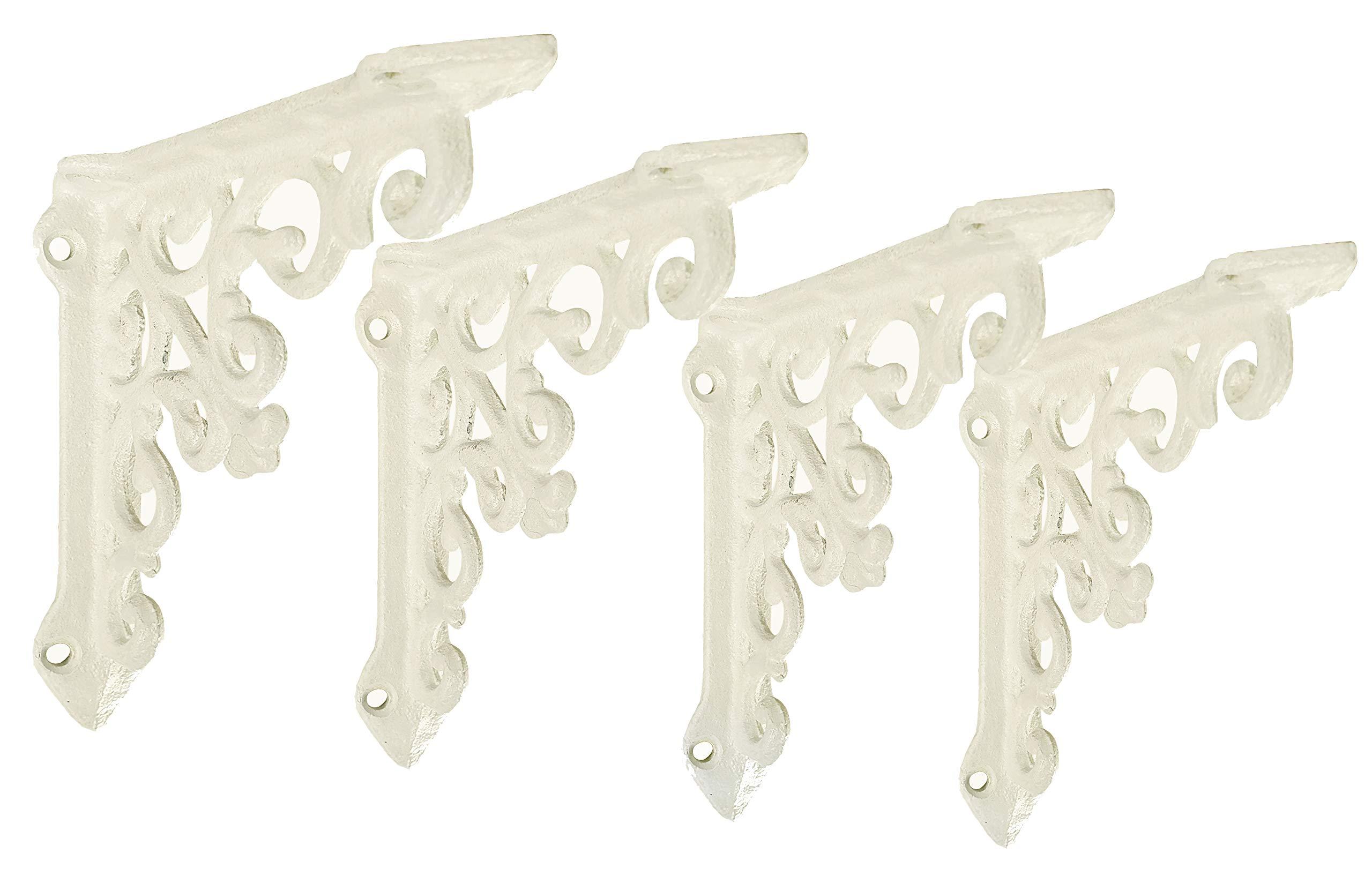 NACH js-90-061AW Cast Iron Victorian Shelf Mount Bracket, Small 4.92 x 1.18 x 4.92 Inches, White, 4 Pack by NACH