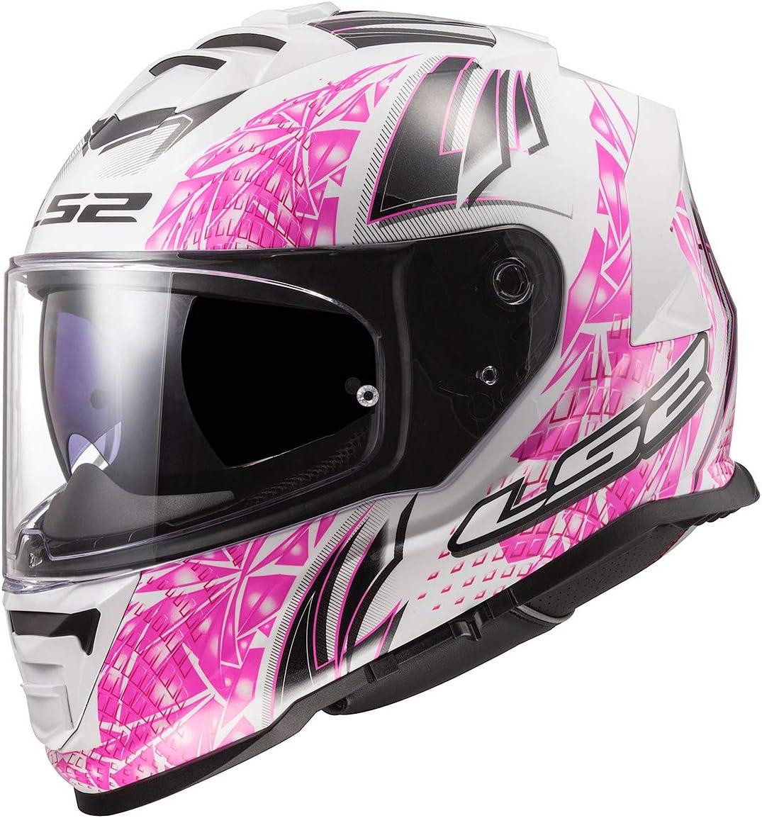 Gloss White//Pink, Medium LS88 Unisex-Adult Full Face Helmet