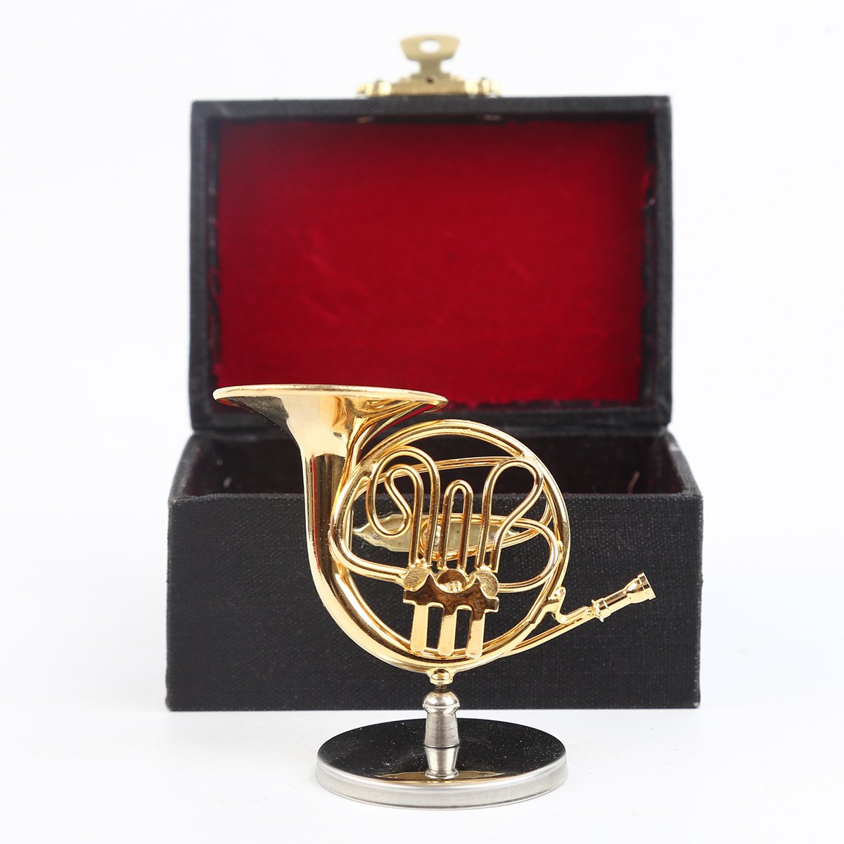 Seawoo Copper Miniature French Horn with Stand and Case Mini Musical Instrument Miniature Dollhouse Model Mini French Horn Home decoration (2.76''x1.38'') by Seawoo (Image #4)