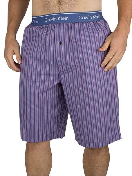 Calvin Klein Hombre Pantalones cortos de rayas logo de la pretina de pijama, Azul,