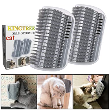 Kingtree Cat Self Groomer, 2 Pack Wall Corner Groomers Soft Grooming Brush Massage Combs for Short Long Fur Cats, Softer Massager Toy for Kitten Puppy