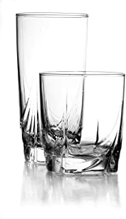 product image for Luminarc 16 Piece Ascot Tumbler Set, 8-16.5 Ounce Coolers & 8-13 Ounce Double Old Fashioned Glasses, Mixed, Clear