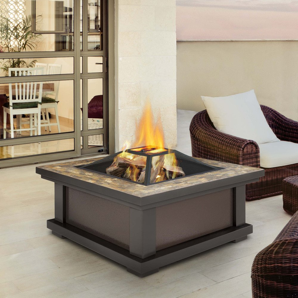 Slate Tile Outdoor Wood Burning Fire Pit   Enjoy a Bonfire in the Comfort of Your Backyard! Comes Complete with Spark Screen, Log Poker Tool and Vinyl Storage Cover