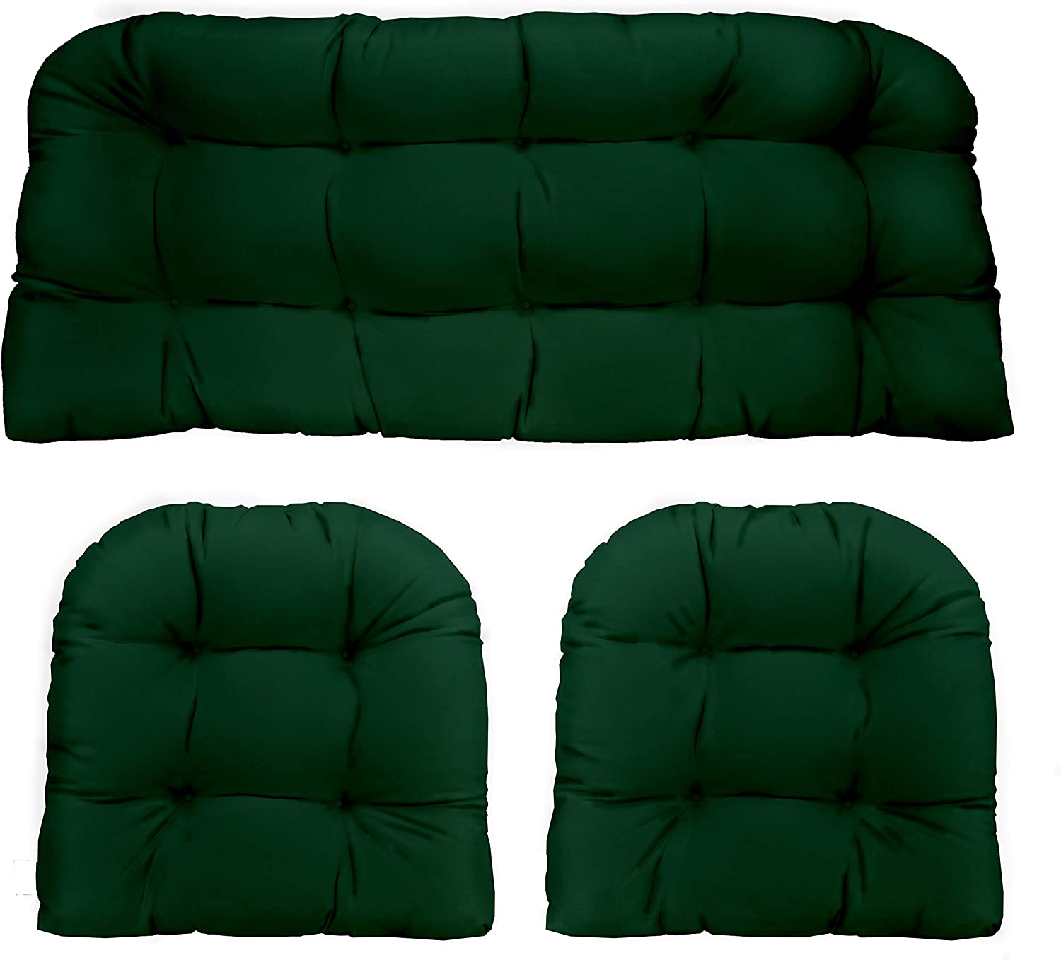 "RSH Décor Indoor Outdoor 3 Piece Tufted Wicker Settee Cushions 1 Loveseat & 2 U-Shape Weather Resistant ~ Choose Color (Hunter Green, 2- 19""x19"" 1- 41""x19"")"