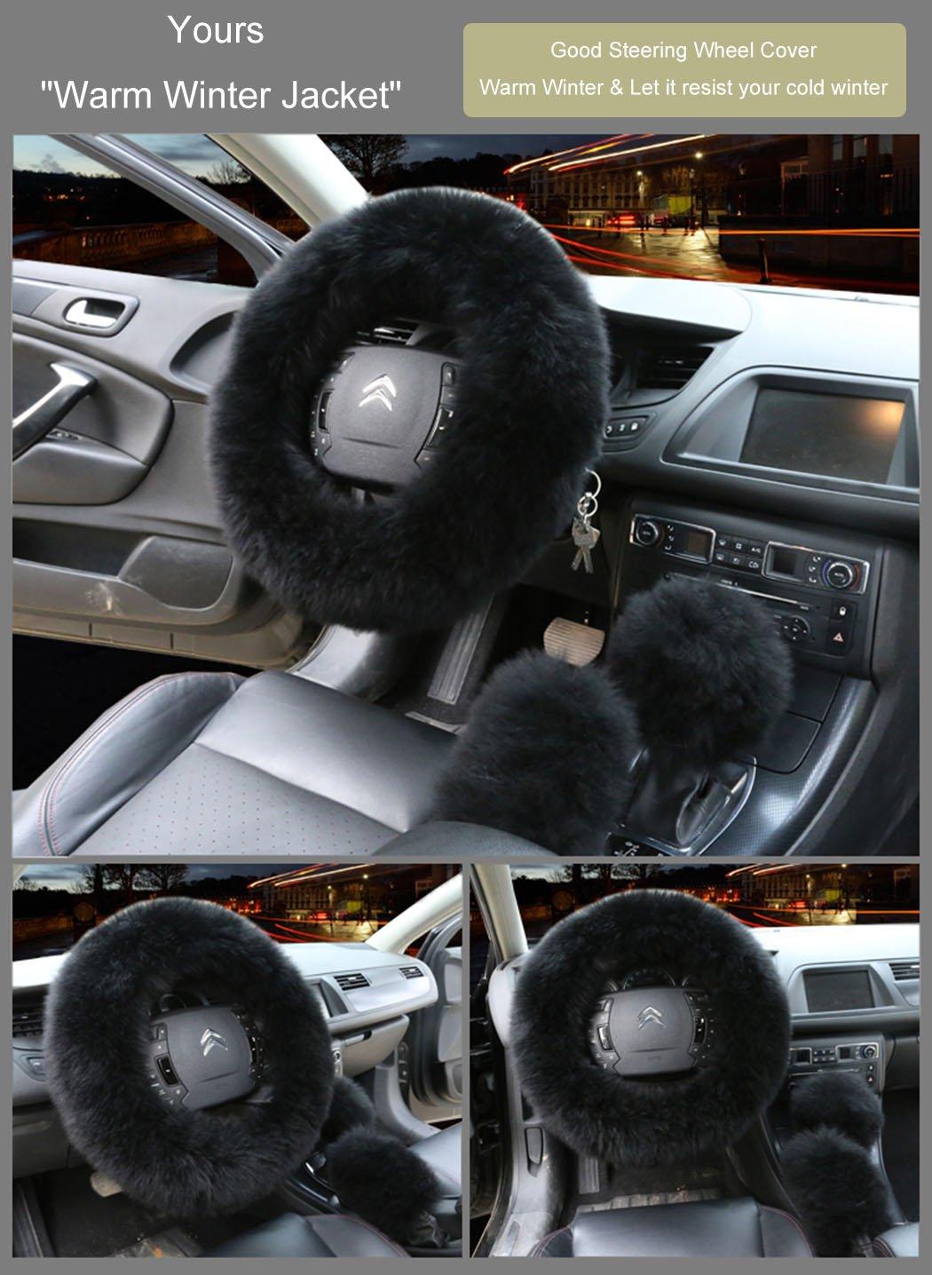Younglingn Car Steering Wheel Cover Gear Shift Handbrake Fuzzy Cover 1 Set 3 Pcs Multi-colored with Winter Warm Pure Wool Fashion for Girl Women Ladies Universal Fit Most Car(Black)