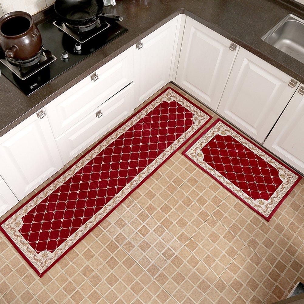KEYAMA 1 piece High-grade (20''Wx31''L) Red Grid Acrylic Non-Slip Home Kitchen Floor Comfort Mat Home Decorative area Rugs Hallway Room aisle decorative Runner Fashion Doormat.