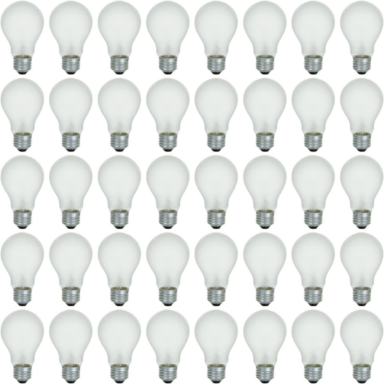 48 Pack of 75 Watt Long Life Incandescent Light Bulb, 130 Volt, Warm White, 3200K, Frost Finish, Medium Base, Rough Service - Vibration Resistant: Classic & Beautiful Natural Light Appearance 100 CRI