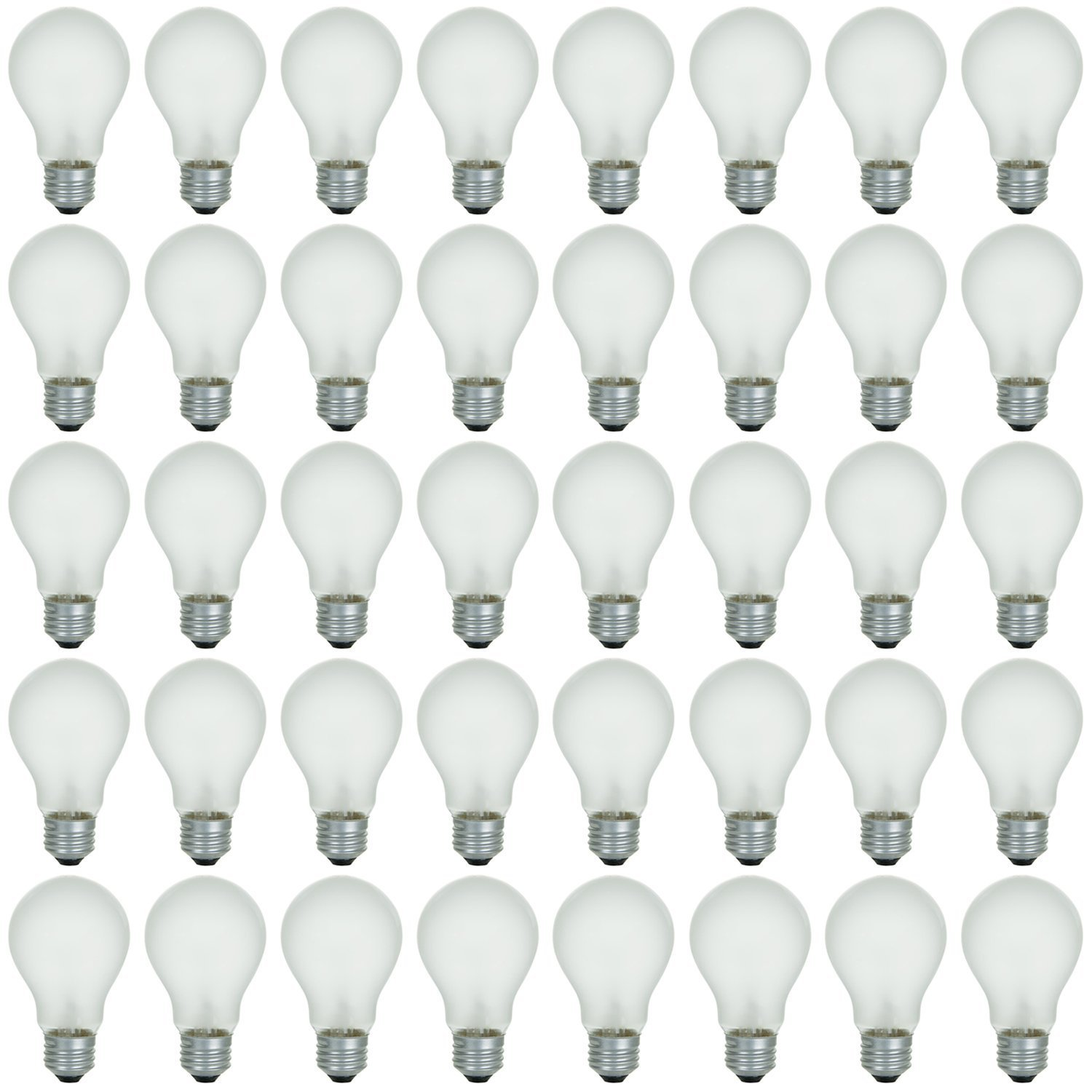 48 Pack of 40 Watt Long Life Incandescent Light Bulb, 130 Volts, Warm White, 3200K, Clear Finish, Medium Base - General Purpose: Lamps, Ceiling & Wall Fixtures, and More