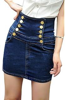 d46f1217a Women Summer Casual High Waist Denim Mini Skirts A-line Jean Skirt ...