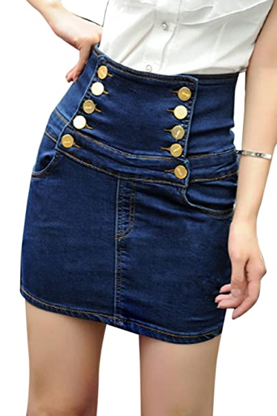 c6127cfd6ce6f Women s Elegant High Waist Bodycon Denim Mini Skirt Plus Size at Amazon  Women s Clothing store