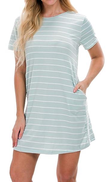 97c6a0a6365 Tiksawon Loose Striped T Shirts Dress for Womens Plus Size Swing Tunic S  Light Green