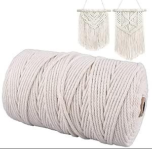 Gudotra 3mm x 200M Cuerda de Algodón Macrame Macrame Cuerda para Tejer Decoración Decoración Interior Envolver Regalo Navidad: Amazon.es: Hogar