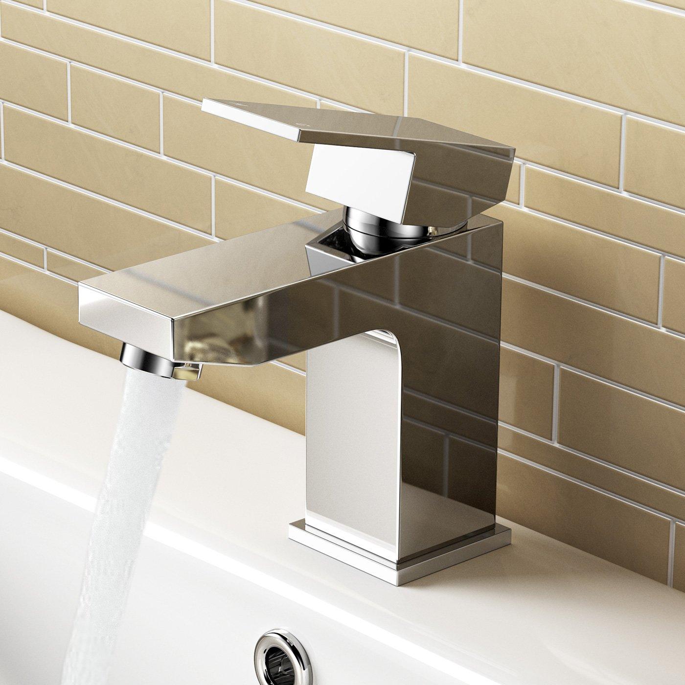 IBathUK   Chrome Basin Sink Mixer Tap + Bath Filler Bathroom Faucet Set TP32080