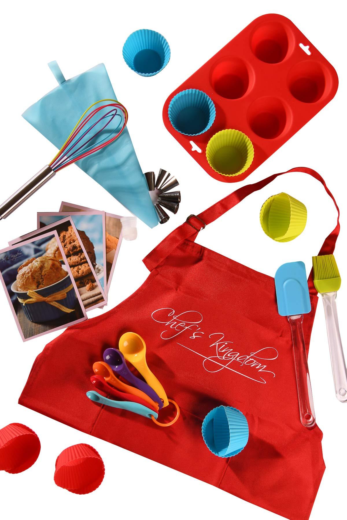 Riki's Kingdom Kids real baking cupcake set with recipes 33-Piece/Child Apron/Muffin Pan/decorating kit, Measuring Spoons,whisk,Spatula,Pastry Brush/Gift Giving Box, FDA Food Grade,Dishwasher safe