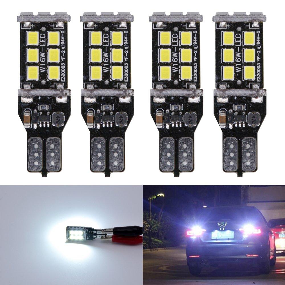 KaTur 4pcs High Power 800 Lumens Super Bright T15 W16W 921 915 LED Canbus Error Free 15SMD 2835 Backup Reverse Tail Brake Lights Parking LED Blubs DC 12V Amber