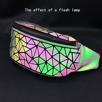Danse Jupe Women Geometric Lattice Fanny Pack Luminous Waist Bag PU Leather Chest Bag