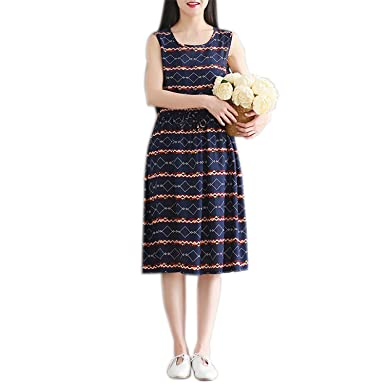 Benzhi Fashion cotton linen vintage print women casual loose summer dress vestidos femininos dresses Navy Blue