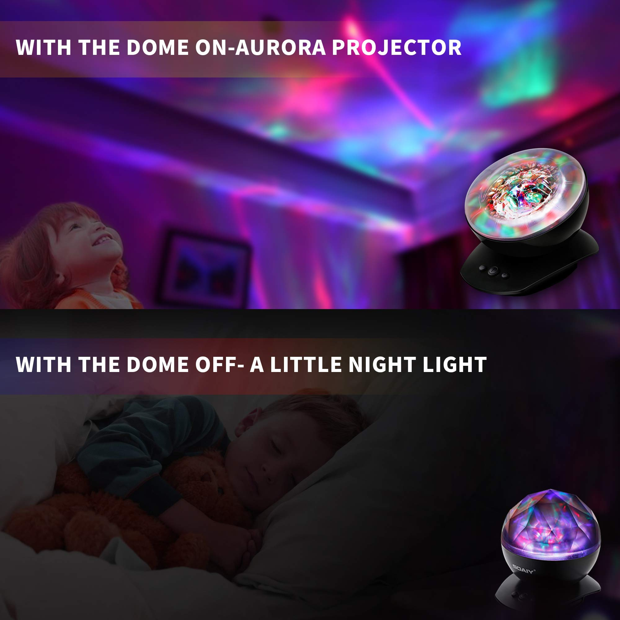 [Upgraded Version] SOAIY Soothing Aurora LED Night Light Projector with UL Certified Adapter,Timer,Remote,Music Speaker,8 Lighting Modes,Relaxing Light Show,Mood Lamp for Baby Kids, Adults,Living Room by SOAIY (Image #5)