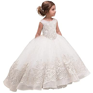 479f6c2ae2a28 Mejorme Pageant Flower Girl Dress 2019 Wedding Lace First Communion Ball  Gowns Ivory