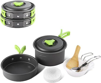 Juego de cocina camping 2 – 3 personas camping Juego de ollas de acero inoxidable 8 piezas olla de equipo para Outdoor Senderismo Picnic, FDA ...