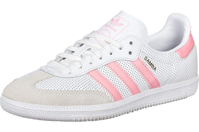 Adidas Samba Damen Herren Unisex Weiß mit Rosa Streifen
