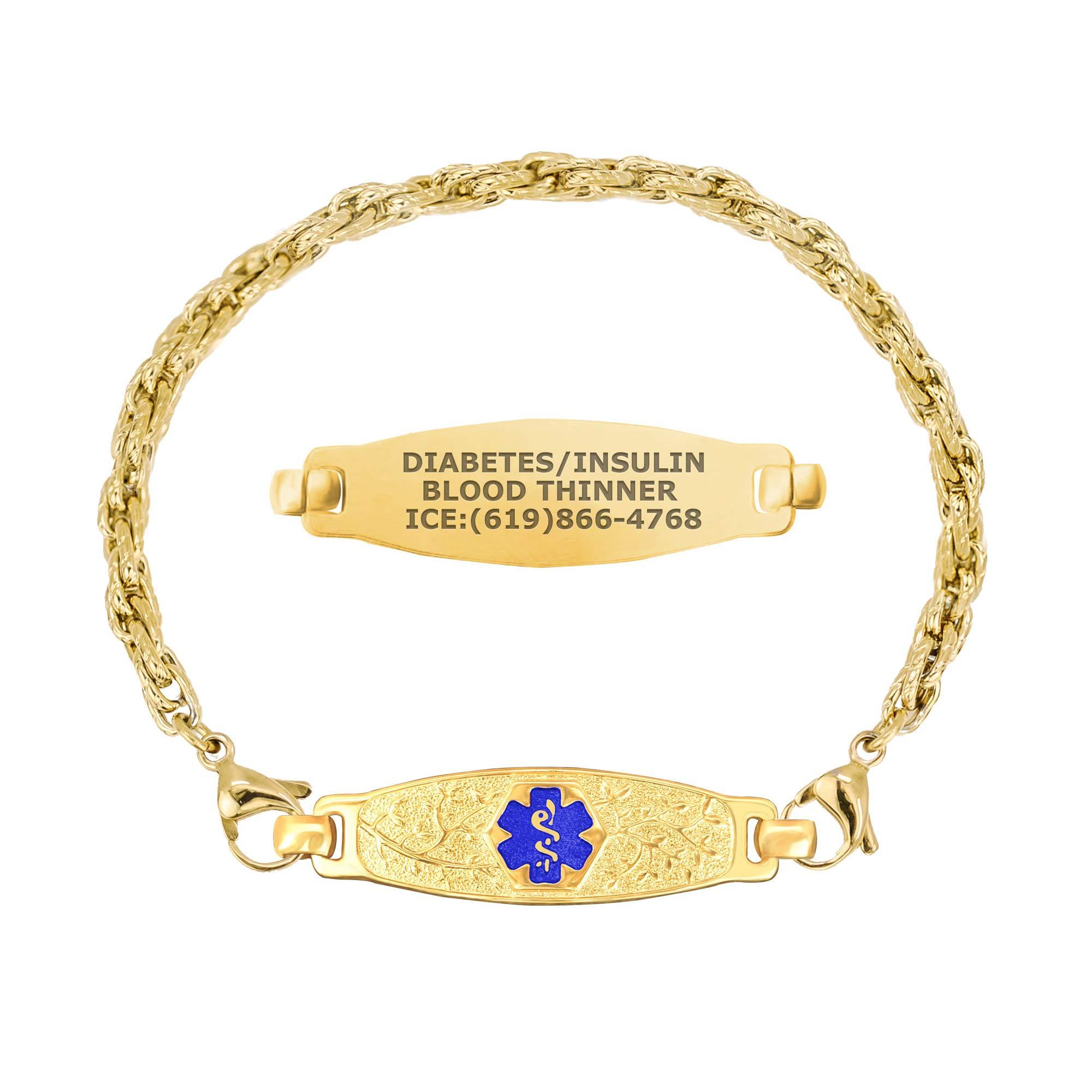 Divoti Custom Engraved Medical Alert Bracelets for Women, Stainless Steel Medical Bracelet, Medical ID Bracelet w/Free Engraving - PVD Gold Elegant Olive Tag w/PVD Gold Rope-TP Blue-8.0'' by Divoti