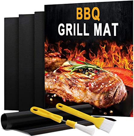 10PCS BBQ Grill Mat//Sheet Resistant Reusable Non-Stick Barbecue Baking Bake Meat
