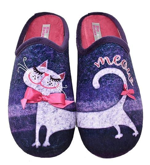 BIORELAX Zapatillas de Casa Para Mujer con Gatito - 9191 (37)