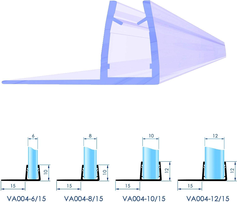 8 VON ADELBERG Duschdichtung Wasserabweiser Gerade PVC Ersatzdichtung f/ür Dusche Typ: VA004-15 Dichtung L/änge:200 cm L/änge: 40 bis 200 cm 6 Glasst/ärke:8 mm 10 Glasst/ärke: 4 12 mm
