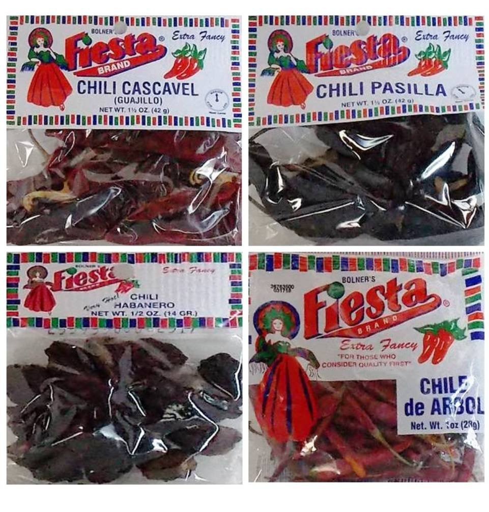 Bolner's Fiesta Extra Fancy Dried Chili Pods 4 Flavor Variety Bundle: (1) Cascavel (Guajillo) Chili Pods, (1) Habanero (Very Hot!) Chili Pods, (1) Pasilla Chili Pods, and (1) Chile de Arbol Chili Pods, .5-1.5 Oz. Ea.