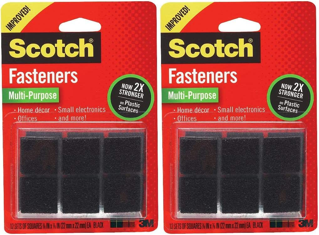 24 Squares Scotch Brand Hook and Pile Fasteners Black- .2020-New Version 7//8 in x 7//8 in