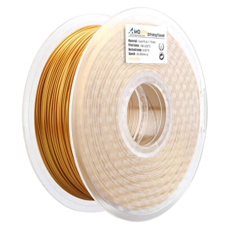 AMOLEN 3D Printer Filament, Real Gold PLA Filament 1 75mm +/- 0 03 mm,  2 2LBS(1KG), includes Sample Glow in the Dark Blue Filament